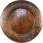 """SOLD Antique French Carved Wood Bread Board, """"Give Us This Day Our Daily Bread"""" in F"""
