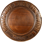 """Antique French Carved Wood Bread Board #2, """"Give Us This Day Our Daily Bread"""" in ..."""