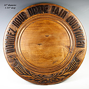 "SALE Vintage French Carved Wood Bread Board, ""Give Us This Day Our Daily Bread"" in F"