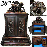 "SALE LG Antique Black Forest Carved 20"" Jewelry Cabinet, Chest: 12 Drawer & Hunting Dog F"