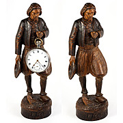 SALE Antique Hand Carved Black Forest Man Figure is a Pocket Watch Holder