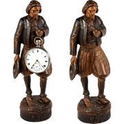 Antique Hand Carved Black Forest Man Figure is a Pocket Watch Holder