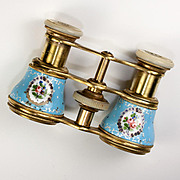 SALE Antique French Kiln-fired Enamel Opera Glasses, Sevres Blue Florals, Mother of Pearl