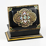 SALE Antique Victorian Papier Mache Desk, Jewelry or Cards Box, Casket - Inlays of Mother of P
