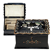 SALE Antique Victorian Papier Mache Stationery or Writer's Box, Mother of Pearl