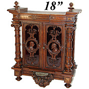 SALE RARE Fine Gueret Freres Hand Carved Key Cabinet, Chest, Holy Font Putti, Signed