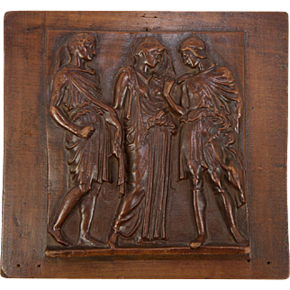 SALE Antique Hand Carved Wall or Cabinet Panel, Classical Figures in Bas Relief