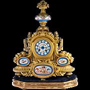 "SALE Fine Antique 19"" French Mantel Clock, Sevres Porcelain Plaques. Japy Freres, Works"