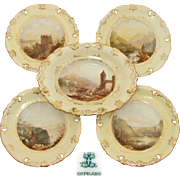 Antique W.T. Copeland 5pc Decorative Cabinet Plate & Serving Dish Set, HP Grand Tour Scenes ..