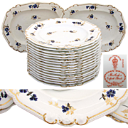 "SALE Rare Antique Royal Crown Derby 10 3/8"" Plate Set, 14pc with 2pc Serving ..."