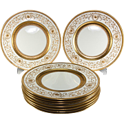 SALE Super set of 9 Raised Gold Enamel Encrusted Dinner Plates, Cauldon, OVINGTON