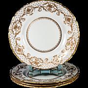 SALE 4 Opulent Antique Royal Doulton Raised Gold Enamel & Cobalt Dinner Plate Set,