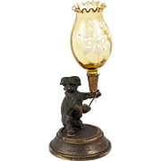 SALE Antique French Figural Vase or Candle Stand, A Dog with Legras Glass in Holder ...