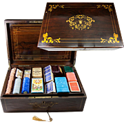 SALE Massive Antique French Gaming Chest, Box, Loaded. Marquetry and Drawer, Lock and Working