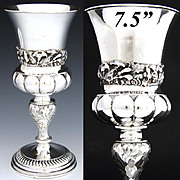 SALE Ornate Antique Continental .800 (nearly sterling) Silver Goblet, Chalice, Art Nouveau Flo