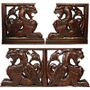 """SALE Large Antique Victorian Carved Oak 14"""" Furniture or Architectural Supports, Winged G"""