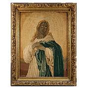 SALE Antique French Petitpoint Tapestry in Frame, Signed, c.1887, Tiniest Stitches Ever!