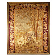 """SALE HUGE 33"""" x 26.5"""" C 1830s Antique French Needlepoint, Petitpoint Tapestry, in Fr"""