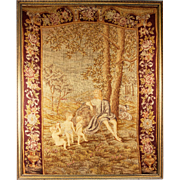 "SALE HUGE 33"" x 26.5"" C 1830s Antique French Needlepoint, Petitpoint Tapestry, in Fr"