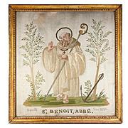 SALE RARE c.1821 Napoleonic Silk on Silk Embroidery Sampler #2 in Frame, St. Benoit, Abbe