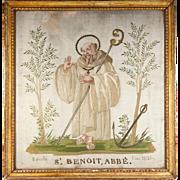 SALE RARE c.1821 Napoleonic Silk on Silk Embroidery Sampler #2 in Frame, St. Benoit ...