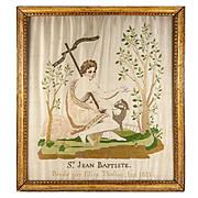 SALE RARE c1821 Antique Silk Embroidery Sampler, St. John the Baptist, in Frame - Napoleonic E