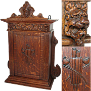 """Superb Antique Victorian Era Carved Oak 22"""" Table or Wall Cabinet, Figural, Smoker's Pipe"""