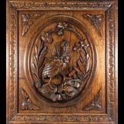 "SALE Superb Antique Black Forest Hand Carved Game Plaque, Wood Panel 25"" x 22.25 ..."