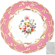 "Antique English 9.25"" Cabinet Plate, Pink & Gold Border with Hand Painted Floral Center"