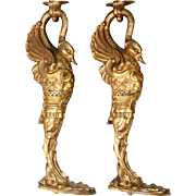 """SOLD Antique French Empire 15"""" Dore Bronze Furniture Support Pair, Swans"""