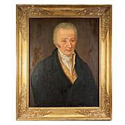 """SALE Antique French Oil Painting Portrait of a Gentleman,  31"""" x 26"""" Napoleon Era Em"""
