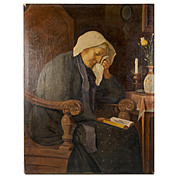 SALE Antique French Oil Painting, Sad Matron in Interior with Book and Candle