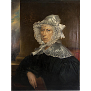 SALE Antique French Oil Painting Portrait of a Matron in Lace Bonnet & Collar,  31.25 ...