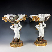 Antique Art Nouveau Porcelain Centerpiece Pair, Figural Mermaid, Lotus Leaves, Flowers - Powell & Bishop