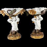 SALE Antique Art Nouveau Porcelain Centerpiece Pair, Figural Mermaid, Lotus Leaves, Flowers -