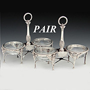 SALE PAIR (2) Antique French Sterling Silver Double Open Salt Service, Sphynx, Boulanger, c.17