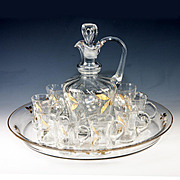SALE Antique French HP Liqueur Service, Decanter, 8 Cups, Tray, Lily of the Valley & Gold Enam