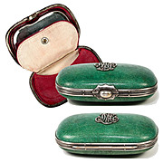 SALE Antique 19th C. French Shagreen Coin Purse with Mirror - Excellent Condition