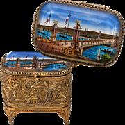 Antique French Grand Tour Souvenir Trinket Box, Casket - Pont Alexandre II Bridge - Eglomise .