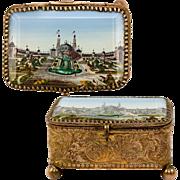 SOLD Antique French Eglomise Grand Tour Souvenir Jewelry Box, Casket, Thick Glass and 1889 Par