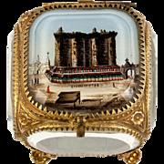 SALE Antique French Eglomise Grand Tour Souvenir Jewelry Box, Casket, Thick Glass, BASTILLE ..