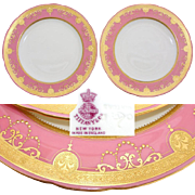 "Elegant PAIR Antique Minton Tiffany & Co. 9.5"" Plate Set, Pink & Raised Gold Borders"