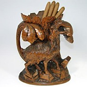 SALE Antique Black Forest Goat Figure, Cigar or Tobacco Smoker Stand