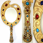 """SALE Antique French Jeweled Bronze 12"""" Hand or Vanity Mirror, a Painter's Palette!"""