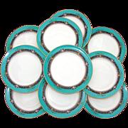 "SALE Vintage Lenox 10pc 8.5"" Plate Set: Teal, Raised Floral Enamel"