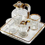 SALE Antique Daum Nancy French Liqueur Decanter Set, Absinthe Service or Bonne Nuit