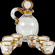 SALE Antique Daum Nancy French Liqueur Decanter Set, 6 Cordials, Signed
