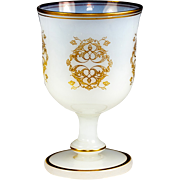 SALE Antique French Opaline Marriage Goblet, Large and Excellent Condition