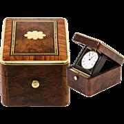 SALE Fine Napoleon III Antique French Pocket Watch Box, Burled & Kingwood Parquet, Brass Trim
