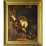 SALE Superb Antique Oil Painting, Horse and Monkeys, French Listed Artist: Alfred Justin ...